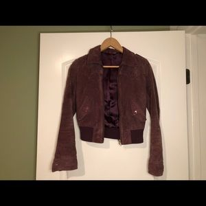 💯 genuine suede purple bomber jacket